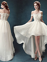 A-line Asymmetrical Wedding Dress - Off-the-shoulder Organza