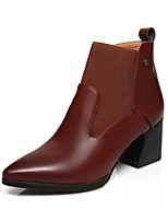 Women's Shoes  Chunky Heel Fashion Boots/Pointed Toe Boots Office & Career/Dress/Casual Black/Brown