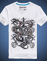 Masculino Camiseta Casual Estampado Algodão Manga Curta Masculino