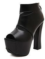 Zapatos de mujer Cuero Sintético Tacón Robusto Estilos Sandalias Casual Negro/Blanco