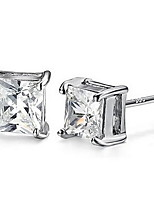 925 Sterling Silver Square Diamond Stud Earrings