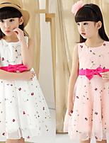 2015 Summer Floral Princess Dress with Bow Belt
