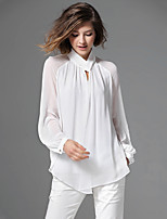 Women's Solid White/Black Blouse , V Neck Long Sleeve Button/Hollow Out