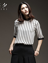 Women's Striped White T-shirt , Stand ½ Length Sleeve Split