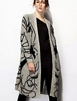 Women's Patchwork Black Cardigan , Casual Long Sleeve