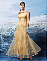 Formal Evening Dress - Champagne A-line Bateau Ankle-length Tulle