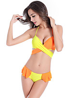 Women's Polyester Sexy Push-up/Underwire Bra Color Block Halter Bikinis