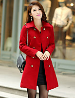 Women's Solid Red/Black/Brown Coat , Casual Long Sleeve Cotton/Wool Blends