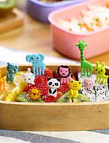 en forma de animales selecciones de comida tenedores partido merienda paquete de 10 piezas (color al azar)