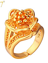U7® Women's Beautiful Flowers Ring Designs 18K Real Gold/Platinum Plated Hollow Gold Women Jewelry Gifts Statement Rings
