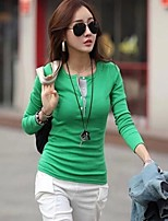 Women's Sexy/Casual/Cute/Party/Work/Plus Sizes Stretchy Long Sleeve Regular T-shirt (Cotton)