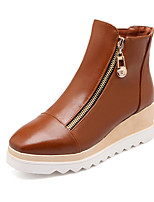 Zapatos de mujer - Tacón Cuña - Cuñas / Botines / Punta Redonda - Botas - Vestido - Semicuero - Negro / Azul / Marrón / Blanco