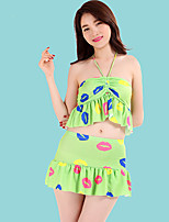 Women's Halter Tankinis , Floral Polyester Pink/Blue/Green