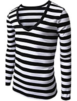 Men's Long Sleeve T-Shirt , Cotton Blend Casual Striped