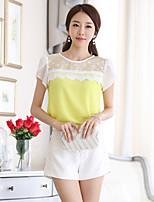 xiw&F Women's Casual/Cute/Plus Sizes Mesh Wave Short Sleeve Blouse (Chiffon/Mesh)