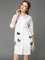 Overhemdkraag - Katoen - Knoop/Geborduurd/Bloem - Vrouwen - Overhemd - Driekwart mouw