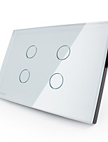 Livolo US/UA Standard Touch Switch, Crystal Glass Panel, 4 Gang1Way, 110-220V, White/Black Color, VL-C304-81/82