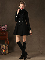 Women's Vintage/Casual/Party/Work Bib Thick Long Sleeve Long Woolen Overcoat (Cashmere/Knitwear/Polyester/Wool Blends)