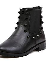 Chaussures Femme - Décontracté - Noir / Blanc - Talon Bas - Bottes à la Mode - Bottes - Faux Cuir