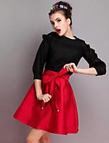 Women's Casual Micro-elastic Medium Above Knee Skirts (Chiffon)