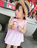 Girls Stripe Fluorescent Color Sleeveless Dress