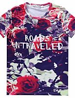 European Style TEE Digital Printing 3D T-shirt Wrinkled Retro Flower Harajuku Sleeved T-shirt