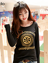 Women's Print Multi-color T-shirt , Round Neck Long Sleeve