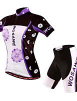 WOSAWE Cycling Outdoor Sports Short Sleeve Jersey Shirt Top Shorts Set Suit Woman