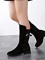 Women's Shoes Synthetic Flat Heel Round Toe Boots Casual Black