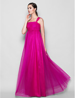 Floor-length Tulle Bridesmaid Dress - Fuchsia Plus Sizes / Petite Sheath/Column One Shoulder