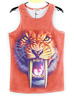 European Style TEE Digital Printing 3D Sleeveless Long Tooth Tiger Harajuku Vest