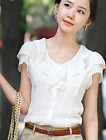 Women's Sweet Color Round Ruffle Sleeve All Match T-shirt