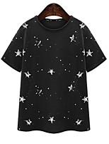 Women's Sexy Casual Print Cute Plus Sizes Micro Elastic Short Sleeve Regular T-shirt (Cotton)