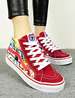 Women's Shoes Canvas Flat Heel Platform/Comfort/Round Toe Fashion Sneakers Casual Black/Dark Blue/Red