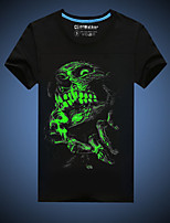 CliffWalker Men's Casual Black Skull Printed Glowing-in-the-dark Round Short Sleeve Luminous T-Shirts