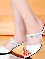 Women's Shoes Chunky Heel Open Toe Slippers Dress Pink/White