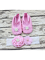 Baby Party Decoration Baptism Flowers Rhinestone/pearl Headband and Ballerina Booties Shoes set 1pair