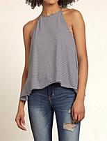 Women's Sexy Beach Casual Cute Plus Sizes Micro Elastic Sleeveless Regular Shirt (Cotton Blends)