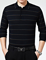 Men's Striped Pullover , Rayon/Wool Blend Long Sleeve