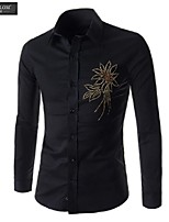 JESUNLOM®Man's Shirt Fashion Long Sleeve Rhinestone Slim Shirt Korean Style Casual All-Match Top Shirt