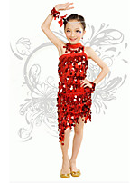 Latin Dance/Performance Outfits Children's Performance/Training Polyester Sequins Outfit Red