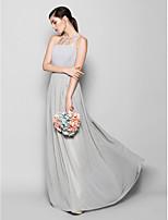 Платье для подружек невесты - Серебряный Платье-чехол Круглый Длина до пола Шифон