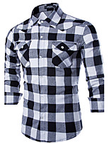 Men's Casual/Work Plaids & Checks Long Sleeve Regular Shirt