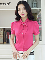 YIMITAO Women's Casual/Work Micro-elastic Short Sleeve Regular Shirt (Chiffon)
