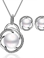 Platinum Plated diamond Water drop colorful pearls jewelry set for women party necklace/earring Bridal Jewelry Sets S063