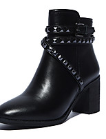 Women's Shoes Chunky Heel Heels/Fashion Boots/Pointed Toe/Closed Toe Boots Outdoor/Office & Career/Casual Black