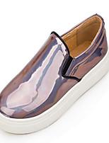 Zapatos de mujer - Tacón Plano - Punta Redonda - Mocasines - Casual - Cuero Patentado - Negro / Plata