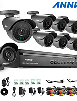 ANNKE® 16CH DVR eCloud HDMI 1080P/VGA/BNC Output  8pcs 900TVL CMOS 42LEDS Day/Night IR-cut Cameras IP66