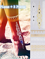 3PCS Colorful Tattoos+ 2PCS Flash Tattoo Gold Tattoo Flash Metallic Tattoo Taty Temporary Tattoo Sticker Metal Tatoos