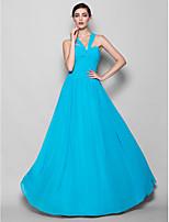 Vestido de Madrinha - Azul Linha-A/Tubo/Coluna V profundo Longo Georgette